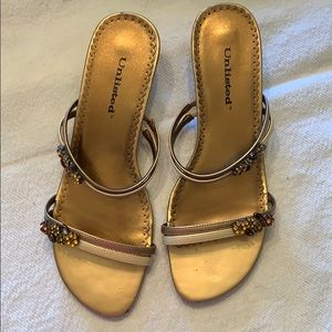Unlisted Brand Sandal. Bronze with nice jewels. 8.